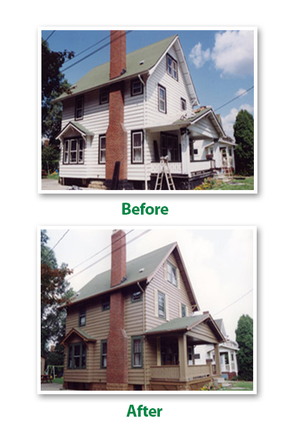 Before and After Siding Refinishing