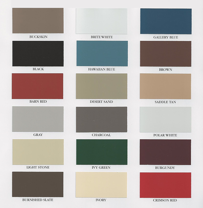 Steel Siding Color Chart