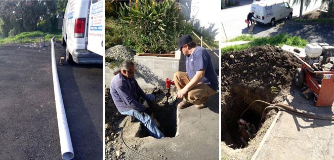 Plumbers Repairing Sewer